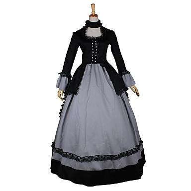 Victoriansk Rokoko Kostume Dame Kjoler Maskerade Party-kostyme Vintage Cosplay Blonde Sengetøy Satin Langermet Lang Lengde
