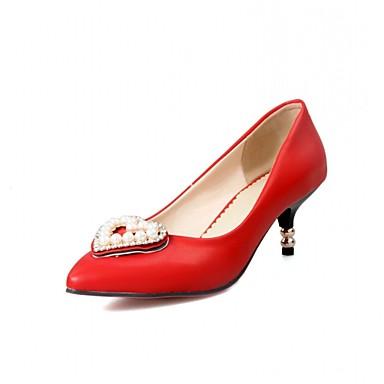 Feminino-Saltos-Inovador-Salto Agulha-Preto Azul Vermelho Branco-Sintético Couro Envernizado Courino-Casamento Escritório & Trabalho