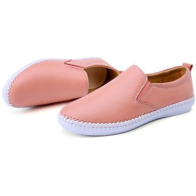 Unisexo Sapatos Pele Primavera Outono Conforto Mocassins e Slip-Ons Caminhada Sem Salto para Casual Branco Preto Rosa claro