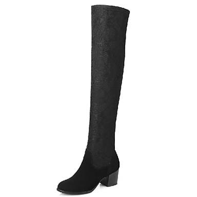 Bootsit-Leveä korko-Naisten-Tekonahka-Musta-Ulkoilu Toimisto Rento