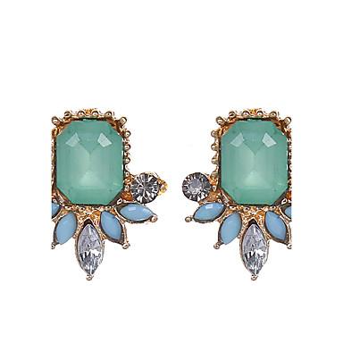 Damen, Mädchen Tropfen-Ohrringe - vergoldet Tropfen, Blume Grün