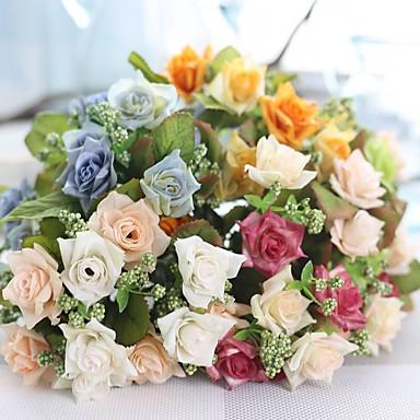 1 Afdeling Polyester Plastik Andre Roser Bordblomst Kunstige blomster