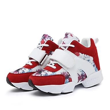 Sneakers-Læder-Komfort Flade balletsko Ankelstøvler Modestøvler-Dame-Sort Rød Grå-Udendørs Fritid Sport-Flad hæl