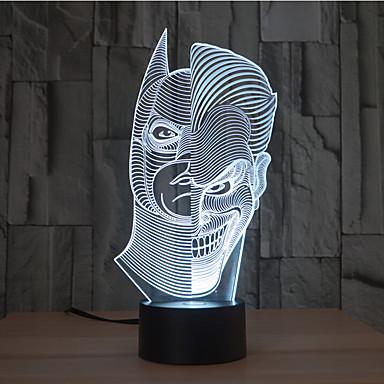 to-ansikt berøringsdemping 3d led nattlys 7colorful dekorasjon atmosfære lampe nyhet lysbelysning