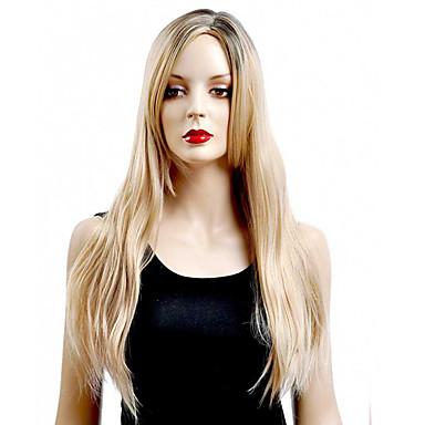 Kvinder Syntetiske parykker Lågløs Lang Glat Blond Sort paryk Halloween Paryk Carnival Paryk kostume Parykker
