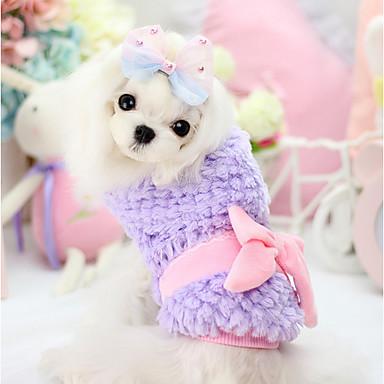 Hund Frakker Hundetøj Åndbart Hold Varm Sløjfeknude Lilla Gul Grøn Lys pink Kostume For kæledyr