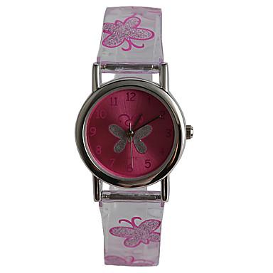 Relógio de Pulso Impermeável Plastic Banda Casual / Borboleta / Fashion Roxa / Um ano / Tianqiu 377