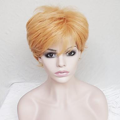 Szintetikus parókák Egyenes / Természetes hullám Szőke Bob frizura / Bretonnal Szintetikus haj Természetes hajszálvonal Szőke Paróka Női Rövid Sapka nélküli