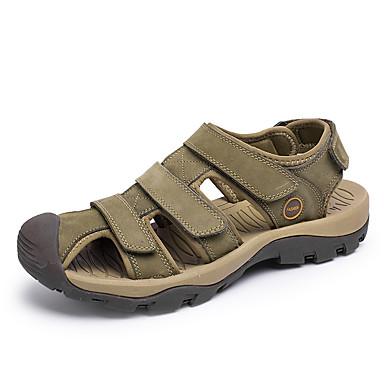Homens sapatos Couro Verão Sandálias Caminhada para Casual Marron Verde Khaki