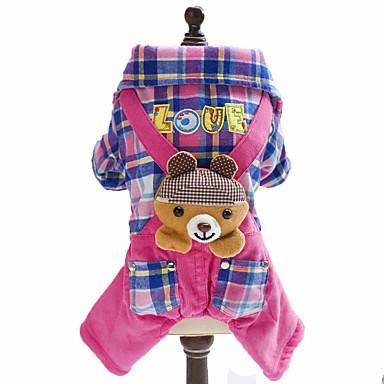 Hund Overall Hundekleidung Modisch Plaid/Karomuster Tier Britisch Blau Rosa Kostüm Für Haustiere