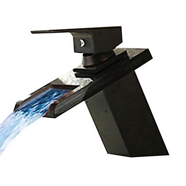 Ванная раковина кран - Водопад Начищенная бронза По центру Одно отверстие Одной ручкой одно отверстие
