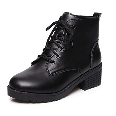 Støvler-Kunstlæder-Modestøvler-Dame-Sort-Udendørs Fritid Sport-Tyk hæl