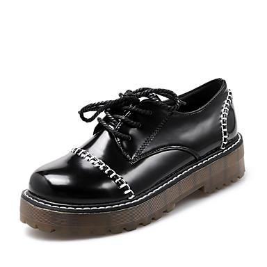 Oxfords-Kunstlæder-Plateau / Komfort / Ankelstøvler / Båd / Modestøvler / Motorcykelstøvler / Sko og matchende sko / Fladsko-Dame-Sort /