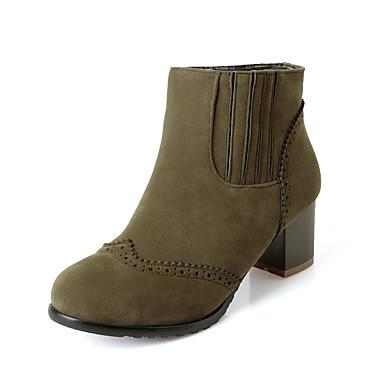 Støvler-Kunstlæder-Modestøvler-Dame-Sort Blå Grøn Rød-Udendørs Kontor Fritid-Tyk hæl