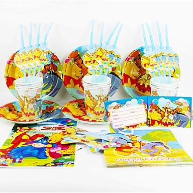 Winnie the Pooh 92pcs fiesta de cumpleaños decoración decoraciones niños evnent fuentes del partido del partido de 12 personas usan