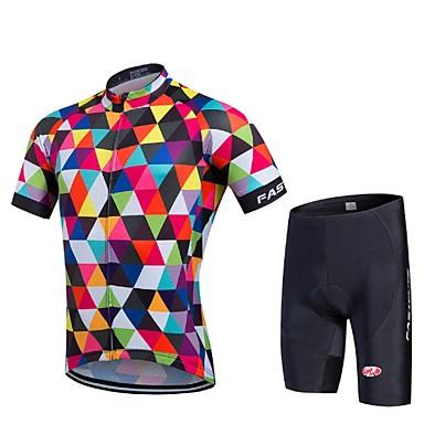Fastcute Herre Kortermet Sykkeljersey med shorts - Svart Geometrisk Sykkel Shorts / Tights Med Seler / Jersey / Klessett, Fort Tørring,
