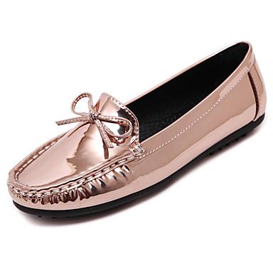 Dame-PU-Flat hælFlate sko-Friluft Kontor og arbeid Fritid-Svart Sølv Sjampagne