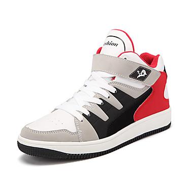 Sneakers-Mikrofiber-Komfort-Herre-Sort Blå Hvid Sort og Rød-Udendørs Fritid Sport-Flad hæl
