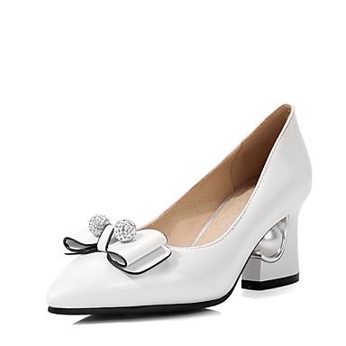 Damen Schuhe Kunstleder Winter High Heels Upstream Schuhe Blockabsatz Schmuckabsatz Schleife Glitter für Hochzeit Kleid Party & Festivität