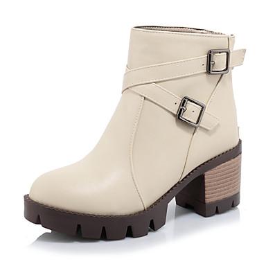 Støvler-Kunstlæder-Hæle / Plateau / Ankelstøvler / Modestøvler-Dame-Sort / Rosa / Beige-Udendørs / Kontor / Hverdag-Platå