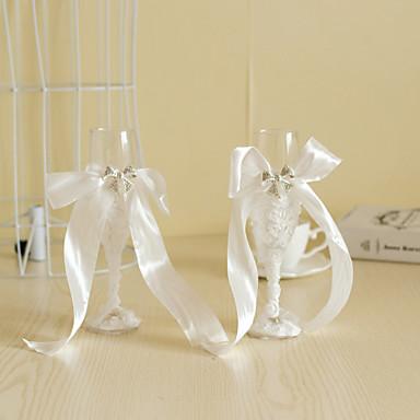billige Sjampagneglass-Blyfritt Glass Riste Fløyter Gaveeske Strand Tema / Hage Tema / Blomster Tema Vår / Sommer / Høst