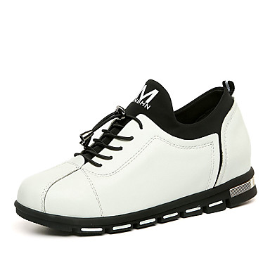 Dame-PU-Flat hæl-Komfort-Flate sko-Fritid-Svart Hvit