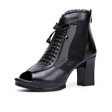 Feminino Sapatos Couro Primavera Verão Sandálias Salto Grosso Ziper Para Social Preto Vinho