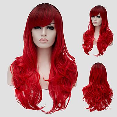 Synthetische Haare Perücken Wellen Seitenteil Mit Pony Kappenlos Karnevalsperücke Halloween Perücke Capless Perücken Lang Rot
