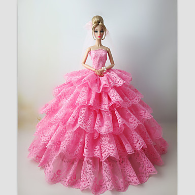 Bryllup Kjoler Til Barbiedukke Blonde Satin Kjole Til Pigens Dukke Legetøj