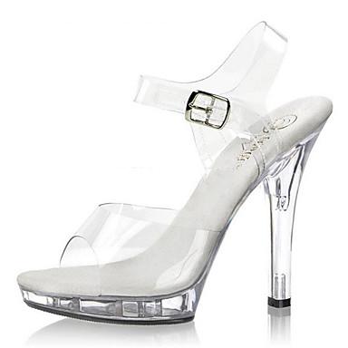 Mulheres Sapatos PVC Primavera Verão Sapatos clube Tênis com LED Saltos Salto Agulha Salto Alto de Cristal Heel translúcido Presilha para