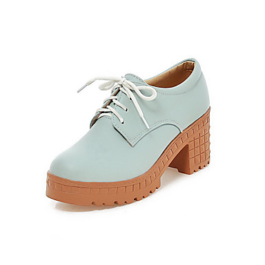 Dame-Syntetisk-Tykk hæl-Hæler / Stiler / Rund tå / Lukket tå-Høye hæler-Fritid-Blå / Rosa / Beige