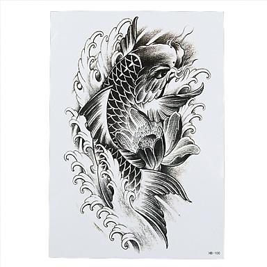 4a675bee5 1pc Black Lotus Flower Temporary Tattoo Lucky Fish Carp Splash Arm Sexy Body  Art Women Man Tattoo Sticker HB-100 #05203899