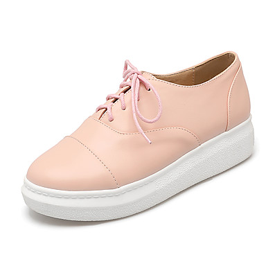 Feminino Sapatos Courino Primavera Verão Outono Inverno Conforto Tênis Plataforma Cadarço Para Casual Social Branco Preto Rosa claro
