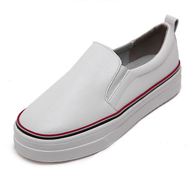 Dame-Kunstlær-Flat hæl-Komfort-Sneakers-Friluft-Hvit
