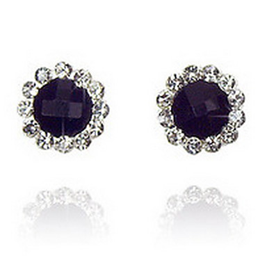 Mote Luksus Smykker imitasjon Diamond Legering Blomsterformet Svart Smykker Til Daglig Avslappet 1 par