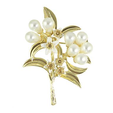 cor de ouro broches de flores de pérolas de imitação