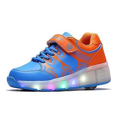 Para Meninas-Tênis-Tenis com Rodinhas Light Up Shoes-Plataforma-Preto Azul Rosa-Couro Ecológico-Ar-Livre Casual Para Esporte