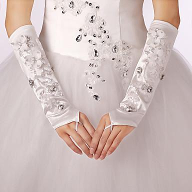 Opernlänge Ohne Finger Handschuh Polyester Elastischer Satin Brauthandschuhe Party / Abendhandschuhe Frühling Herbst WinterStrass Blumig