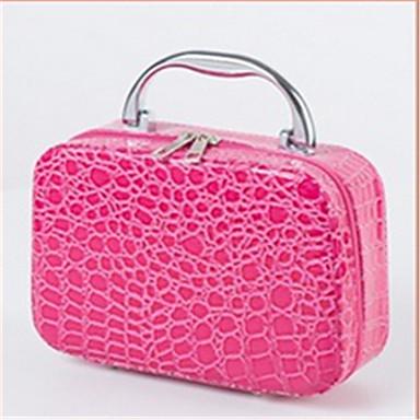 Kvinder Kosmetiktaske PU Afslappet Sort Rosa Rød Blå Lys pink