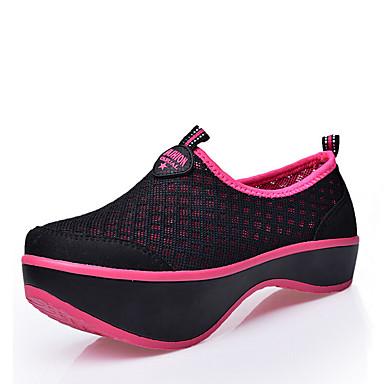 Sneakers-Tyl Stof-Komfort Ankelstøvler Modestøvler Rulleskøjtesko-Dame-Sort Blå Rød-Udendørs Fritid Sport-Kilehæl