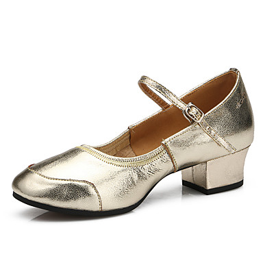 Women's Latin Shoes / Modern Shoes Heel Leather Heel Buckle Flat Heel Shoes Customizable Dance Shoes Silver / Golden / Practice c67e07