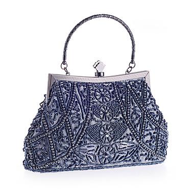 billige Toppsalg-Dame Imitasjonsperle / Krystall / Rhinstein polyester Aftenveske Rhinestone Crystal Evening Bags Geometrisk Lysebrun / Svart / Gull