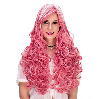 Pelucas sintéticas / Pelucas de Broma Rizado Rosa Con flequillo Pelo sintético Rosa Peluca Mujer Larga Sin Tapa Rosa