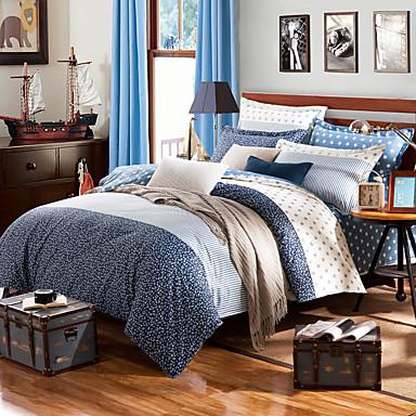 Blumen Bettbezug-Sets 4 Stück Baumwolle Zeitgenössisch Reaktivdruck Baumwolle ca. 1,50 m breites Doppelbett1 Stk. Bettdeckenbezug / 2