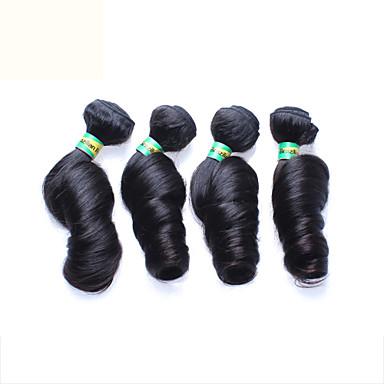 4шт / много 12-26 дюймов необработанный бразильский Реми девственница волос натуральный черный яйцо свернуться человеческие волосы ткет
