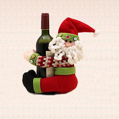 1pc jul stribe santa claus vin flaske håndklædeholder borddekoration hjem middag leverancer udefra
