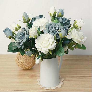 1 1 Afdeling Polyester / Plastik Roser Bordblomst Kunstige blomster 22.8inch/58cm
