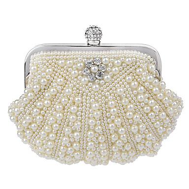 Damen Taschen Polyester Abendtasche / Zweifach gefaltet Perle / Crystal / Strass für Veranstaltung / Fest / Formal Weiß / Beige / Cream