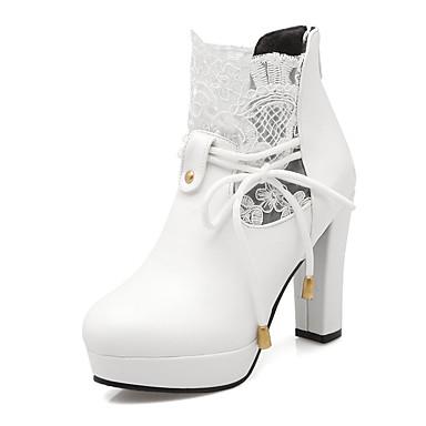 Dames Schoenen Kunstleer Herfst Winter Modieuze laarzen Laarzen Blokhak Korte laarsjes/Enkellaarsjes Rits Veters Combinatie Voor Causaal