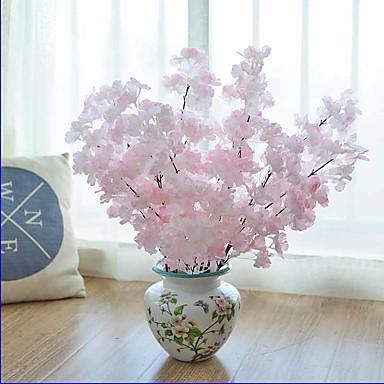 1 1 Afdeling Polyester / Plastik Sakura Bordblomst Kunstige blomster 29.1inch/74cm